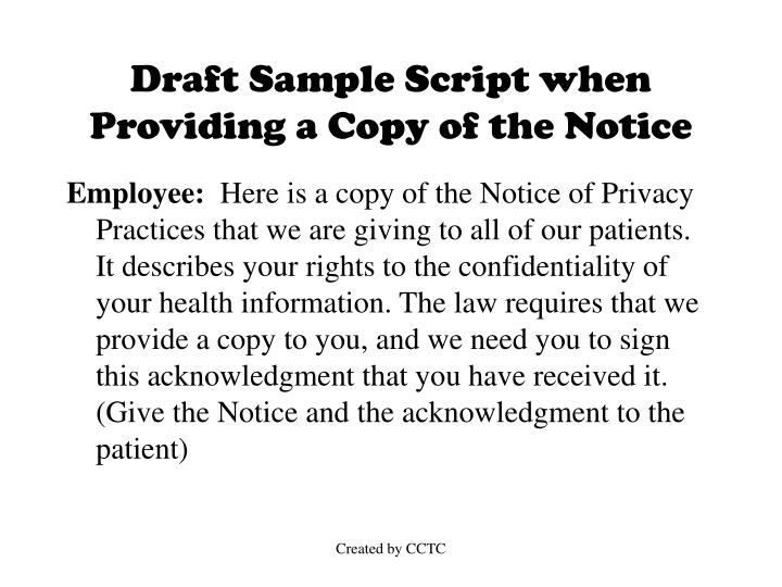 Draft Sample Script when Providing a Copy of the Notice