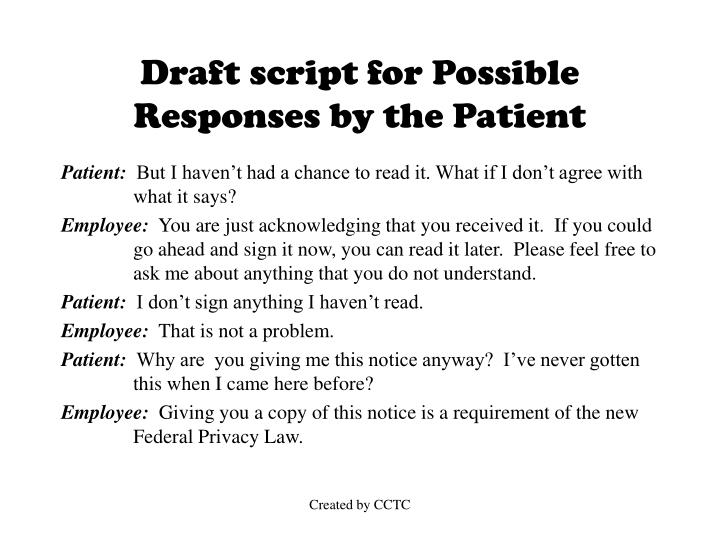 Draft script for Possible Responses by the Patient