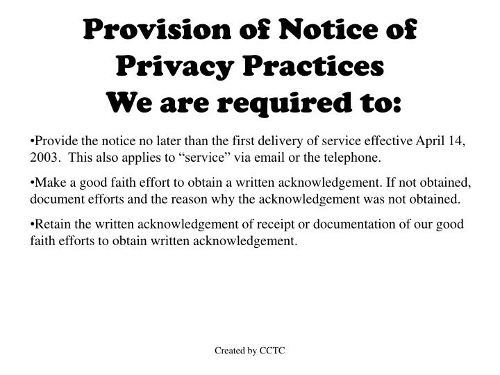 Provision of Notice of Privacy Practices