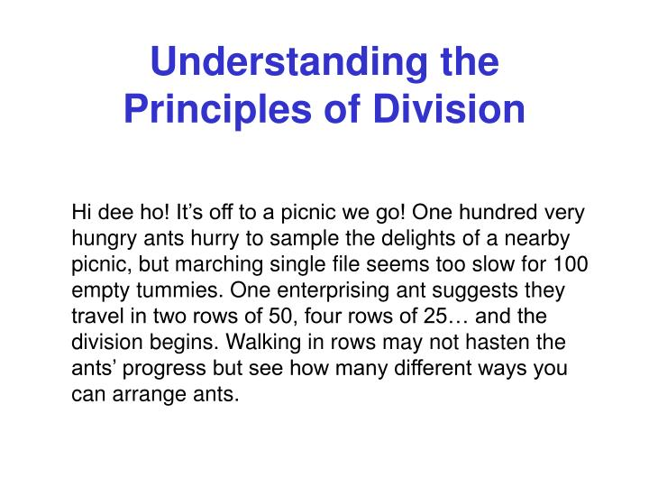 Understanding the principles of division