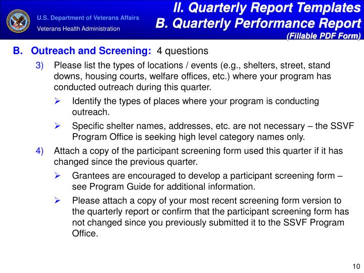 II. Quarterly Report Templates