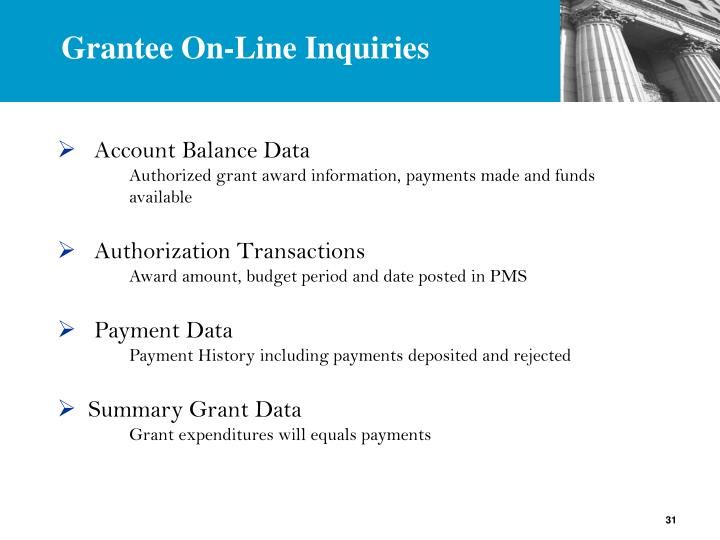 Grantee On-Line Inquiries