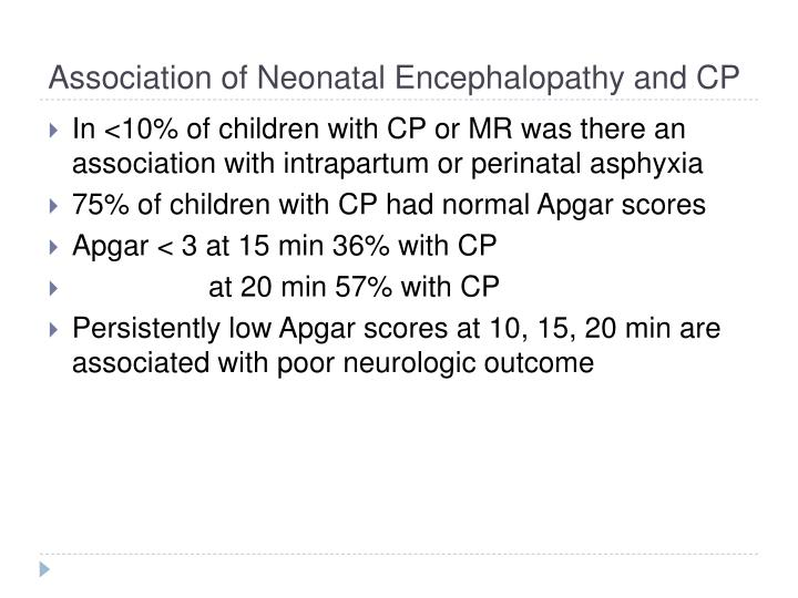 Association of Neonatal Encephalopathy and CP