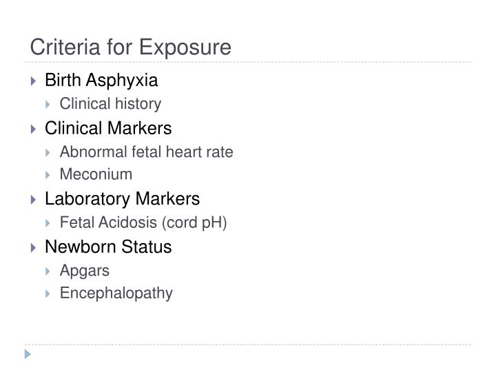 Criteria for Exposure