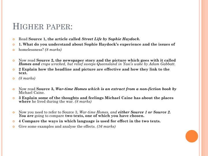 Higher paper: