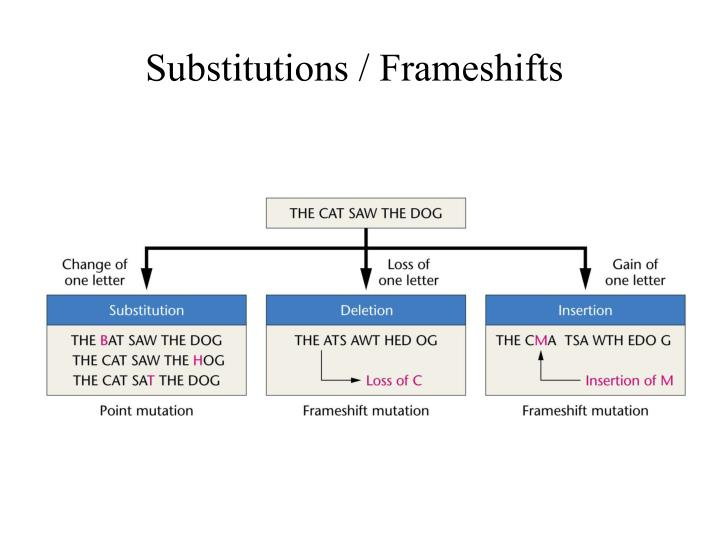Substitutions / Frameshifts