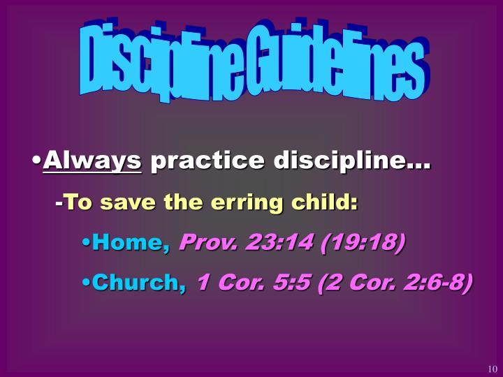 Discipline Guidelines