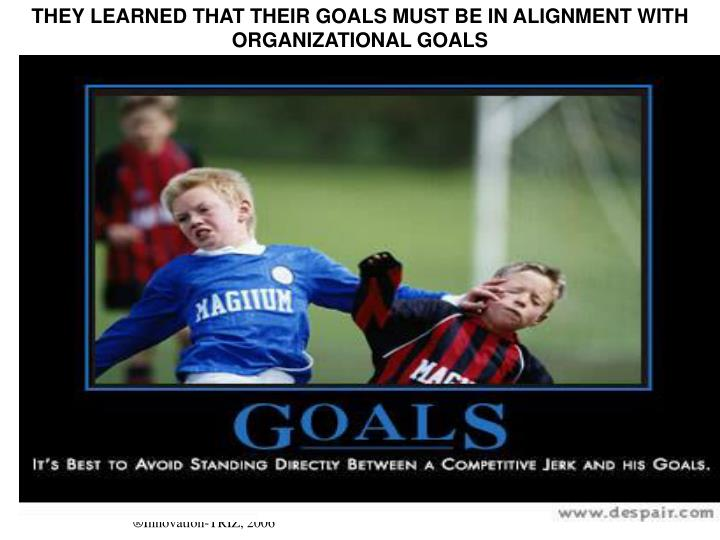 THEY LEARNED THAT THEIR GOALS MUST BE IN ALIGNMENT WITH ORGANIZATIONAL GOALS