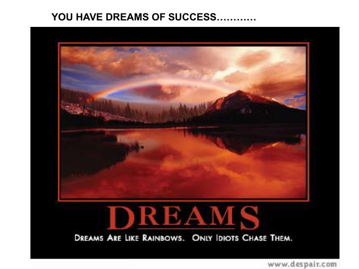 YOU HAVE DREAMS OF SUCCESS…………
