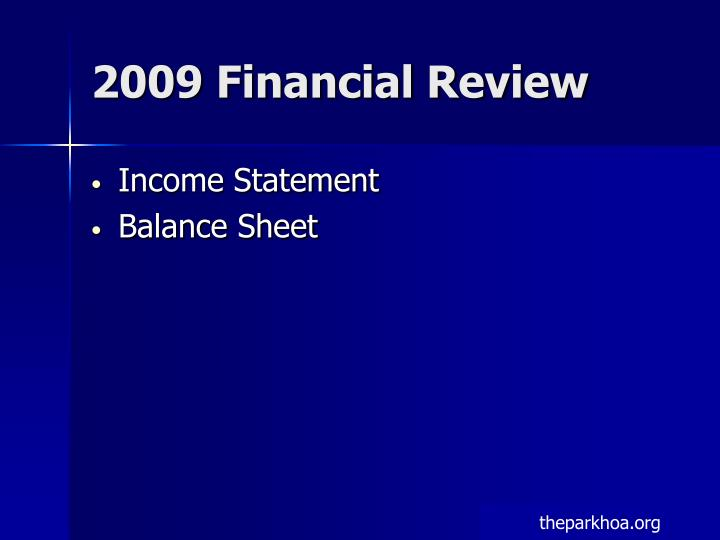 2009 Financial Review