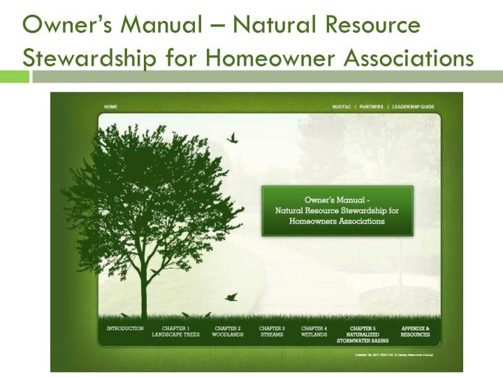 Owner's Manual – Natural Resource Stewardship for Homeowner Associations