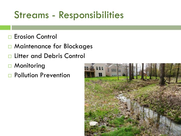 Streams - Responsibilities