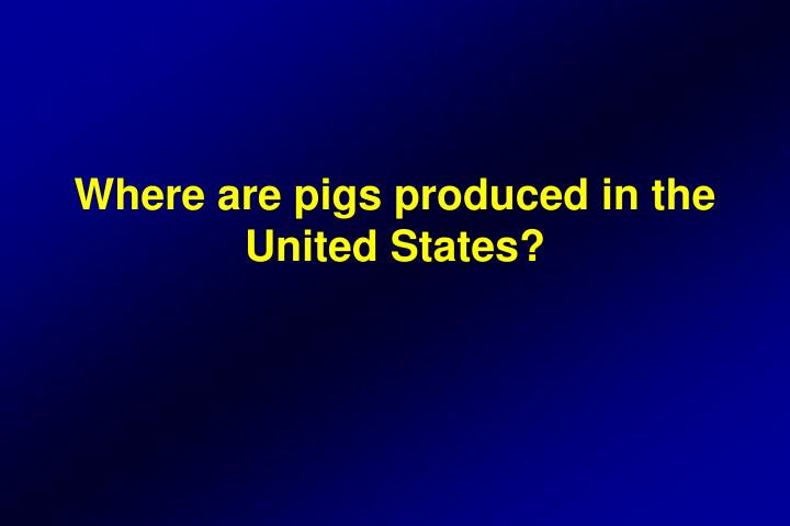 Where are pigs produced in the United States?