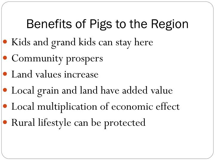 Benefits of Pigs to the Region