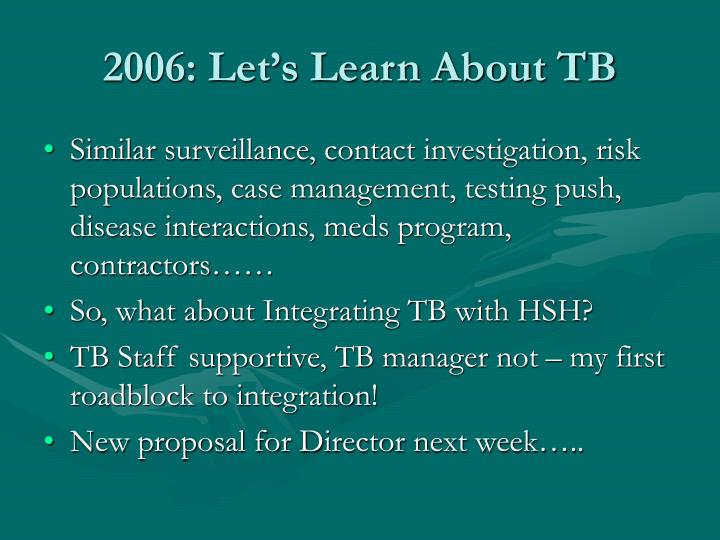 2006 let s learn about tb