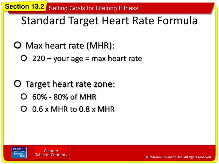 Standard Target Heart Rate Formula