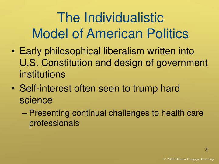 The individualistic model of american politics1