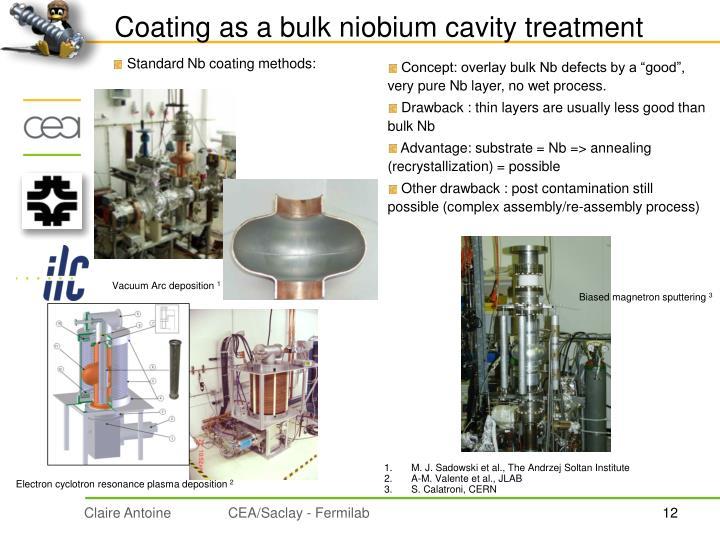 Coating as a bulk niobium cavity treatment