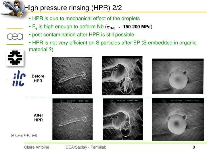 High pressure rinsing (HPR) 2/2