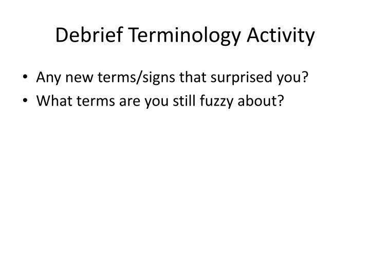 Debrief Terminology Activity