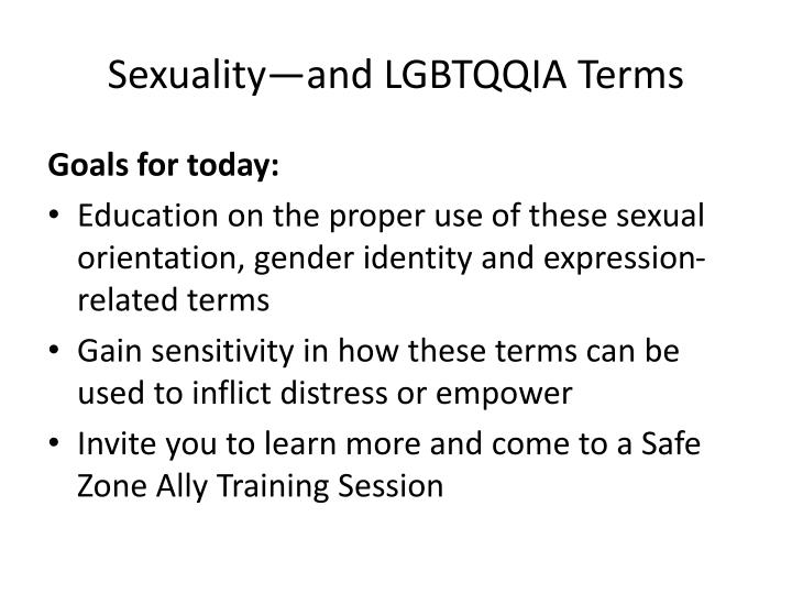 Sexuality—and LGBTQQIA Terms
