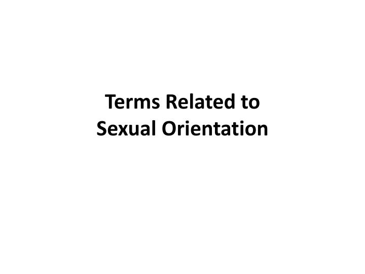 Terms Related to