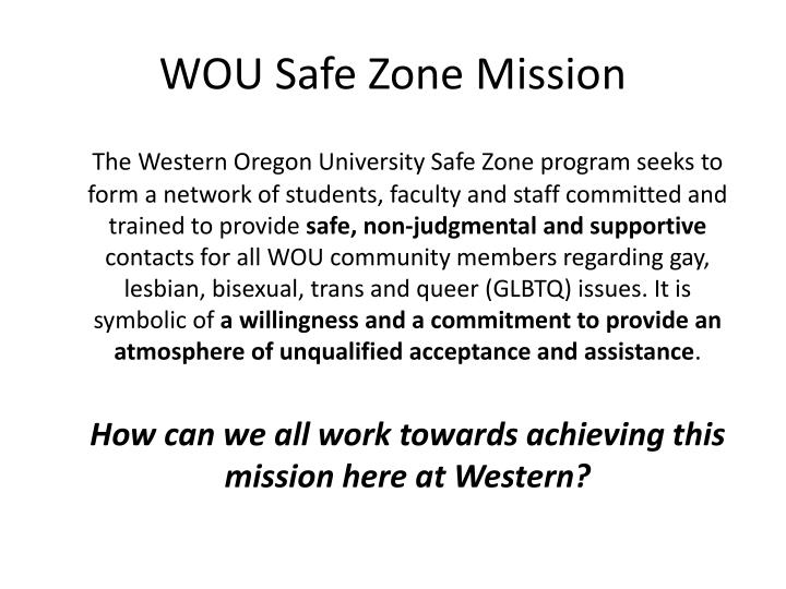 WOU Safe Zone Mission