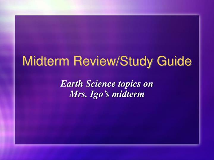is study guide midterm