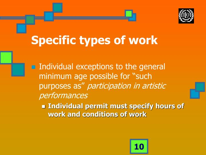 Specific types of work