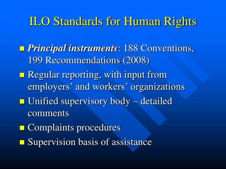 ILO Standards for Human Rights