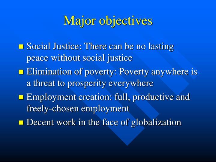 Major objectives