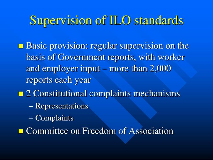 Supervision of ILO standards