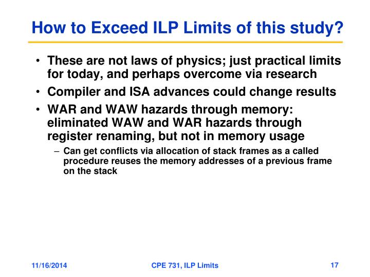 How to Exceed ILP Limits of this study?