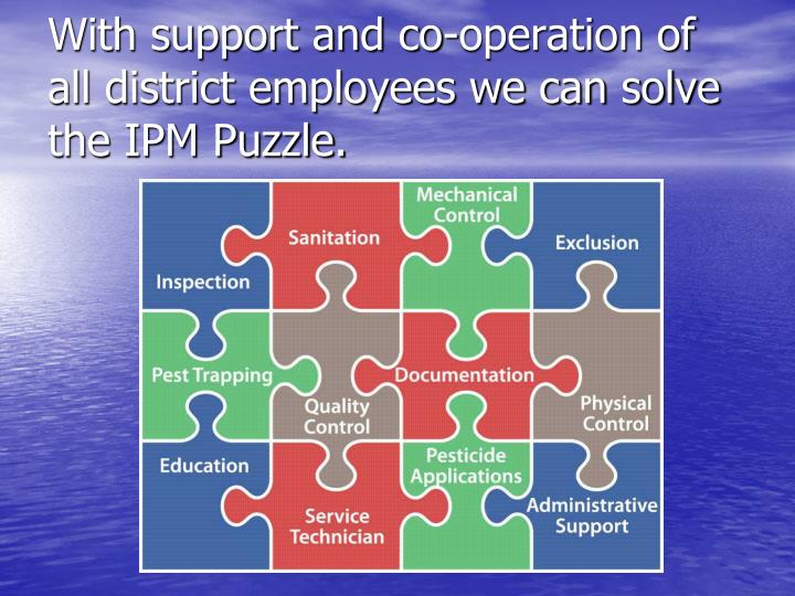 With support and co-operation of all district employees we can solve the IPM Puzzle.