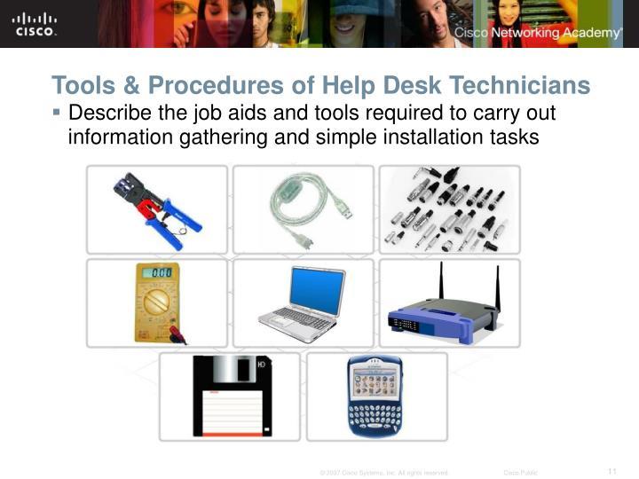 Tools & Procedures of Help Desk Technicians