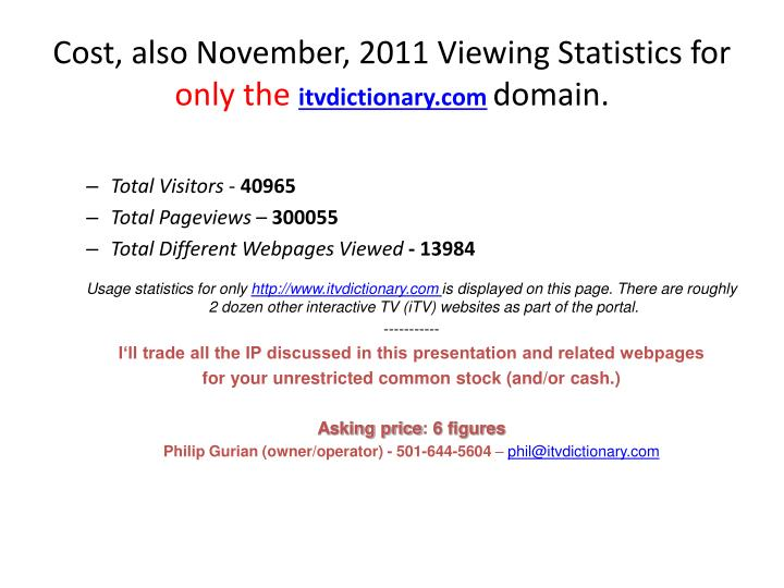 Cost, also November, 2011 Viewing Statistics for