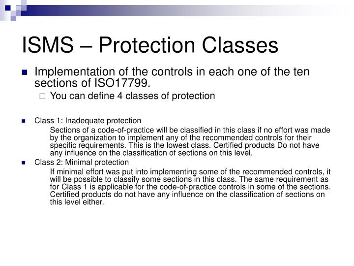 ISMS – Protection Classes