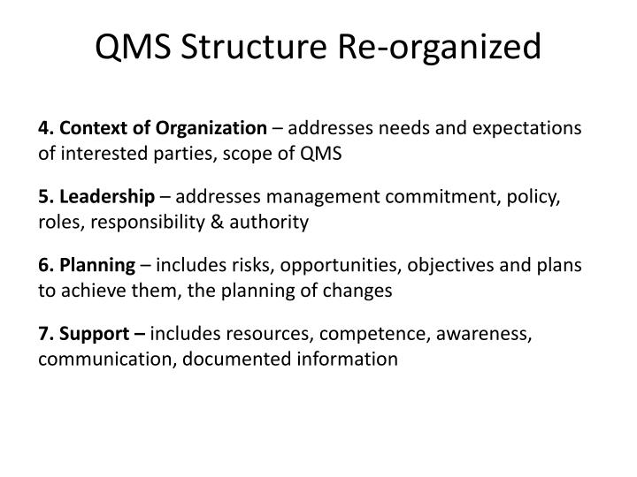 QMS Structure Re-organized