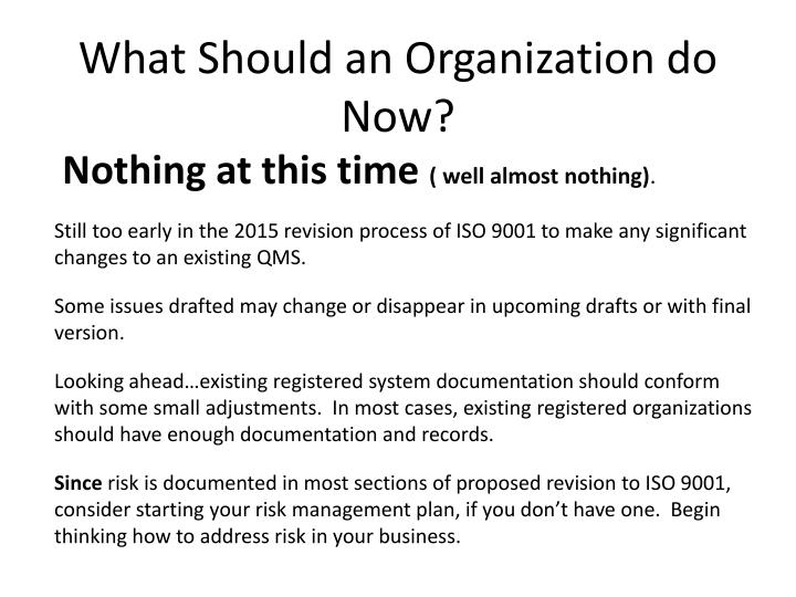 What Should an Organization do Now?