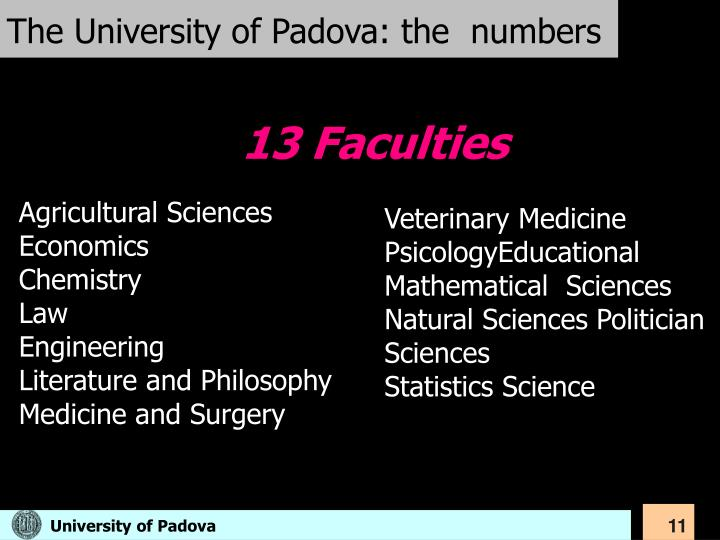 The University of Padova: the  numbers