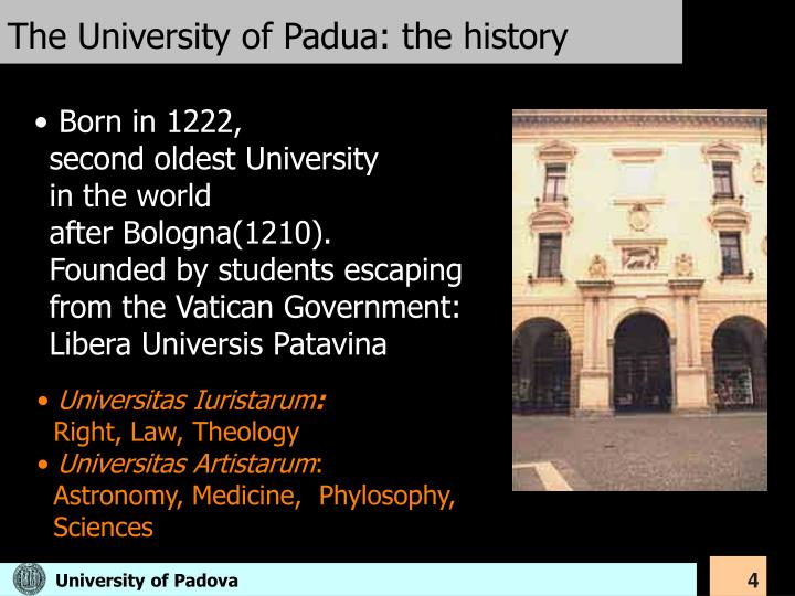 The University of Padua: the history