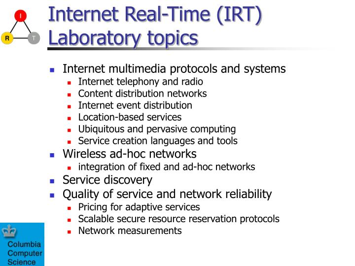Internet real time irt laboratory topics