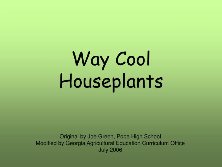 Way cool houseplants
