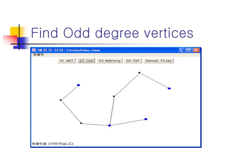 Find Odd degree vertices