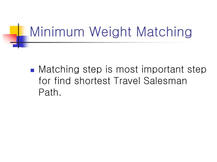 Minimum Weight Matching
