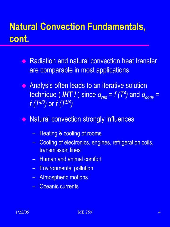 Natural Convection Fundamentals, cont.