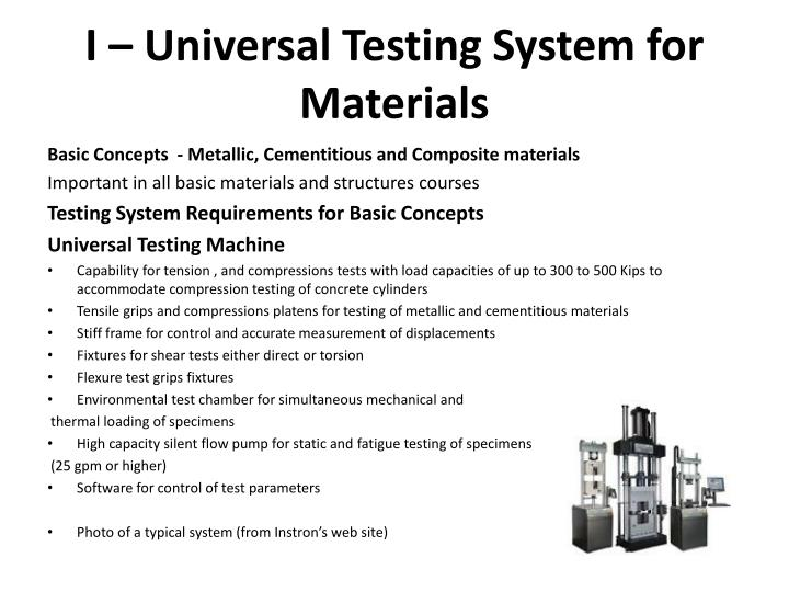 I universal testing system for materials