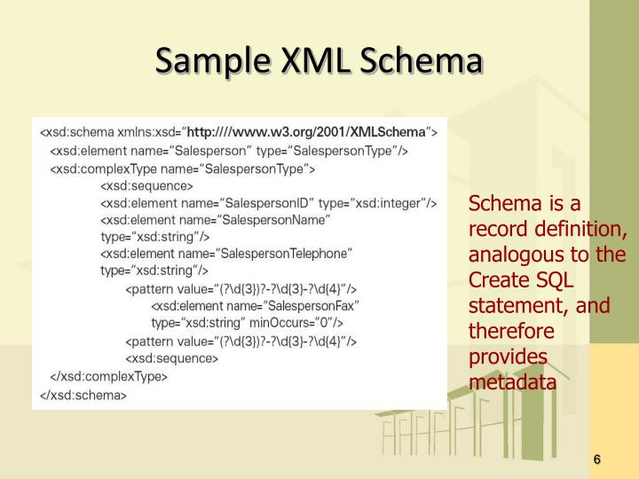 Sample XML Schema