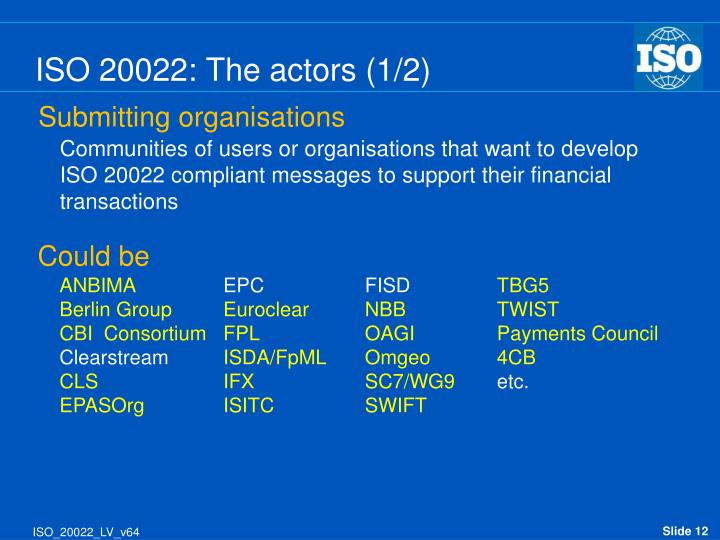 ISO 20022: The actors (1/2)
