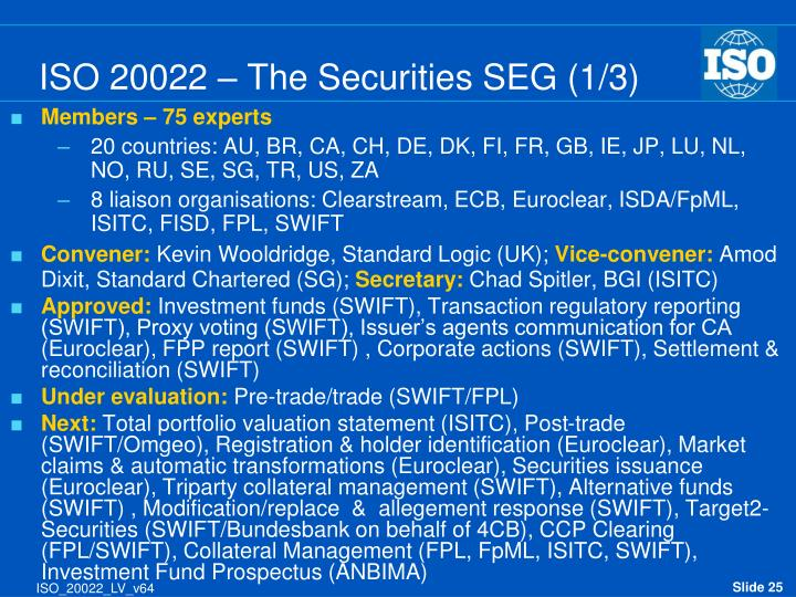 ISO 20022 – The Securities SEG (1/3)